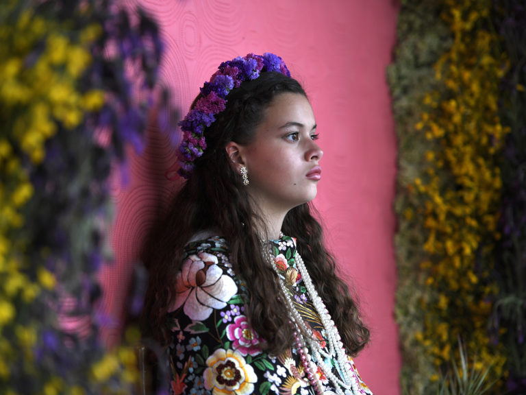 Image of Andrea Ramos Diaz taking part in the 'Las Mayas' festial in Colmenar Viejo near Madrid -- pagan rites celebrating the arrival of spring
