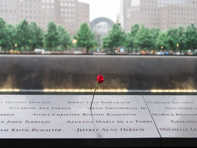 Single rose on the 9/11 Memorial in NYC.