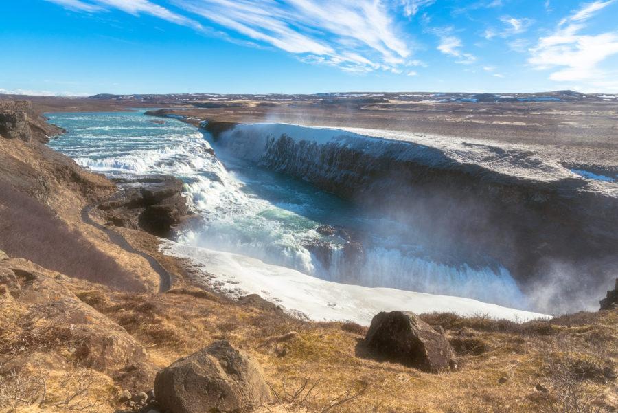 Image of beautiful Gullfoss waterfall in winter, Iceland.