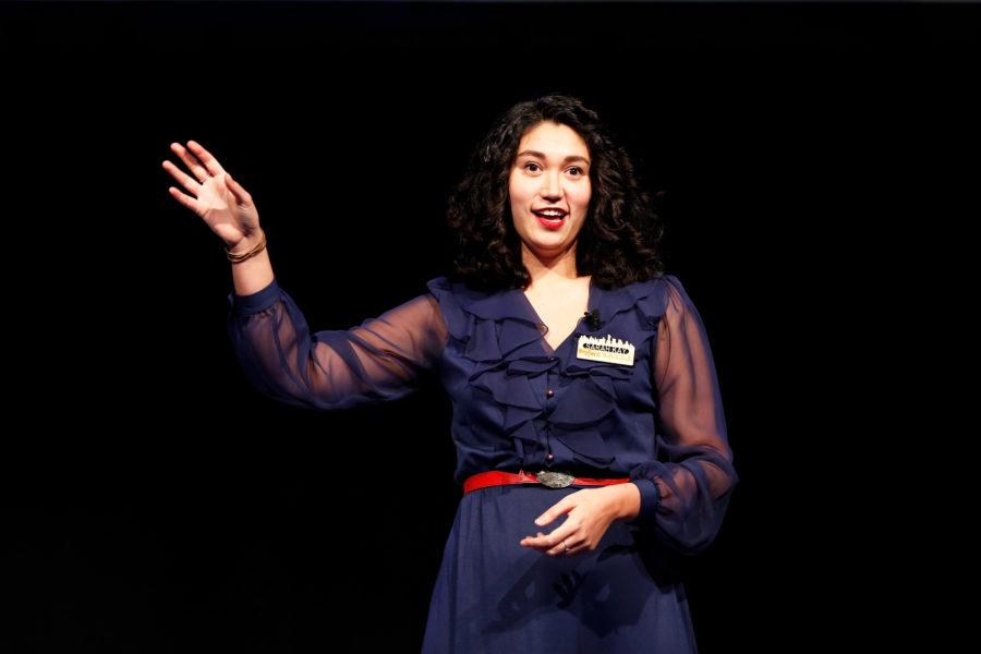 Sarah Kay speaks onstage
