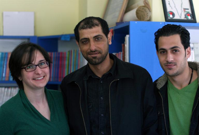 Amahl Bishara, Nidal Al-Azraq, and Mohammed Al Azzeh at the Lajee Center.