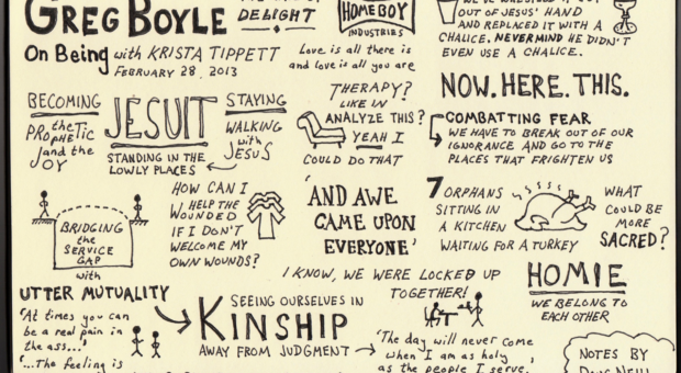 Sketchnotes of Fr. Greg Boyle interview